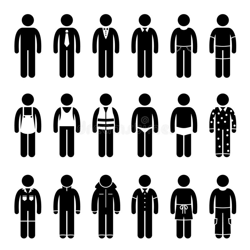 Kläder som beklär dress för olika tillfällen Clipart vektor illustrationer