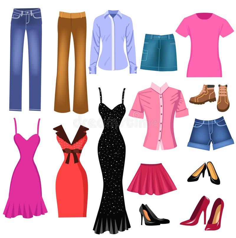 kläder ställde in kvinnor vektor illustrationer