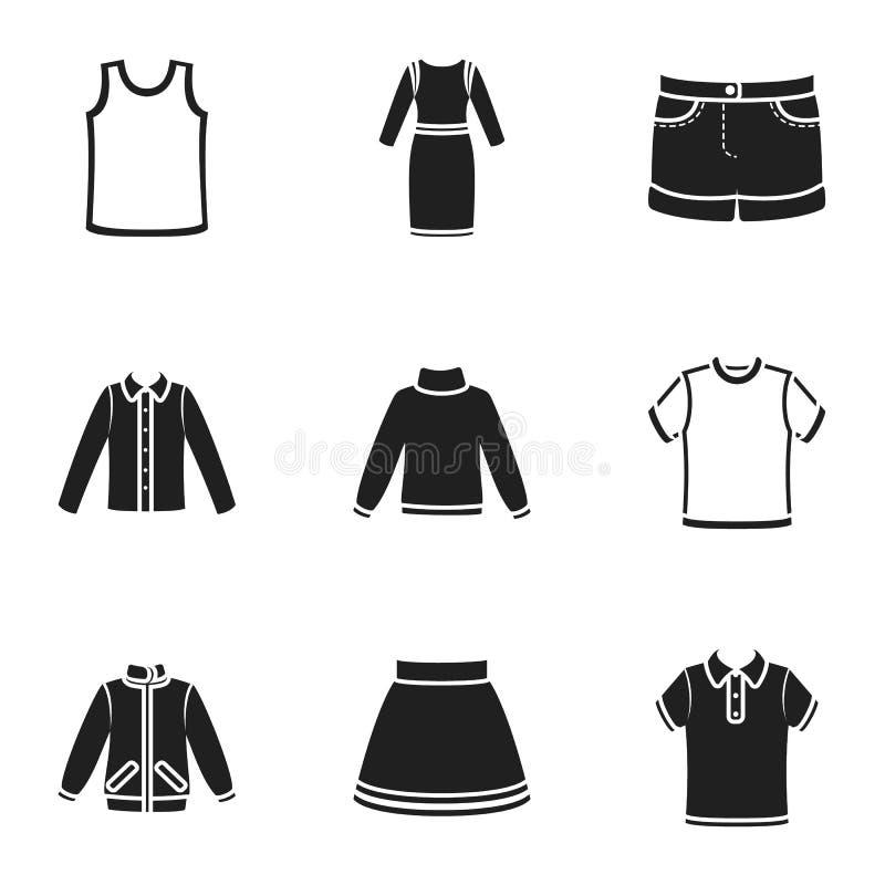 Kläder ställde in symboler i svart stil Stor samling av illustrationen för materiel för klädervektorsymbol royaltyfri illustrationer