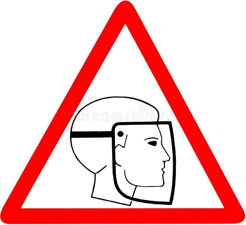 Kläderskyddsexponeringsglas varnar det triangulära färdplantecknet för varning som isoleras på vit bakgrund vektor illustrationer
