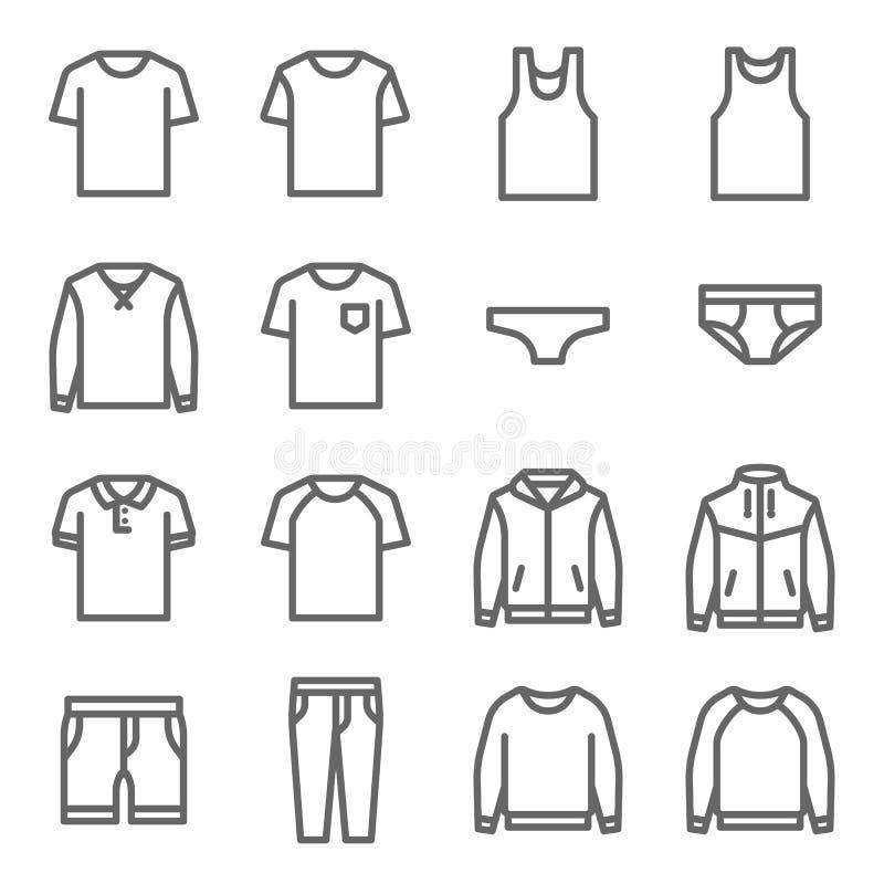 Klädervektorlinje symbolsuppsättning Innehåller sådana symboler som underkläderna, T-tröja, laget, omslaget, flåsanden och mer Ut stock illustrationer