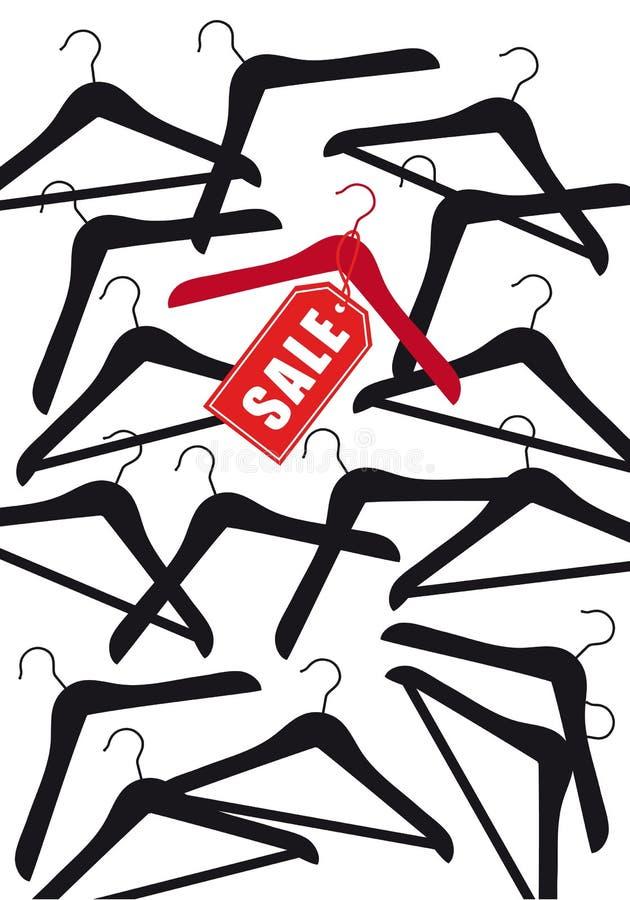 Klädhängare med försäljningsetiketten, vektor stock illustrationer