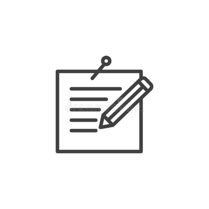 Klämd fast meddelande och pennlinje symbol stock illustrationer