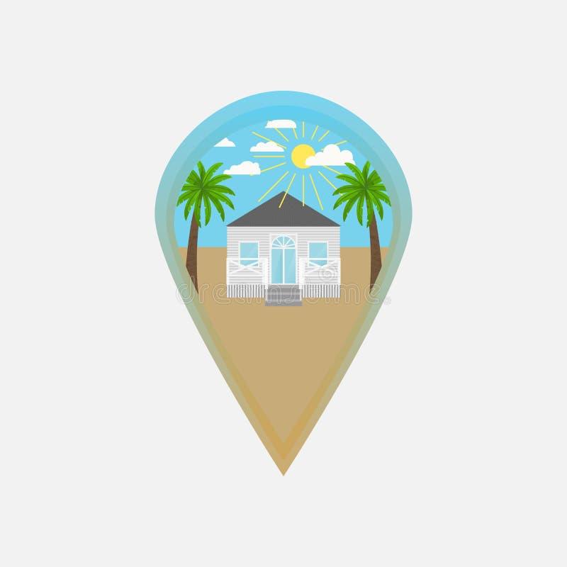 Klämmer fast gömma i handflatan den färgrika illustrationen för vektorn av översikten med strandhuset och Logo av begreppet för u vektor illustrationer