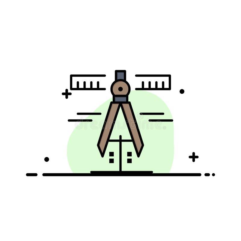 Klämmor geometri, hjälpmedel, måttaffär Logo Template plan f?rg royaltyfri illustrationer