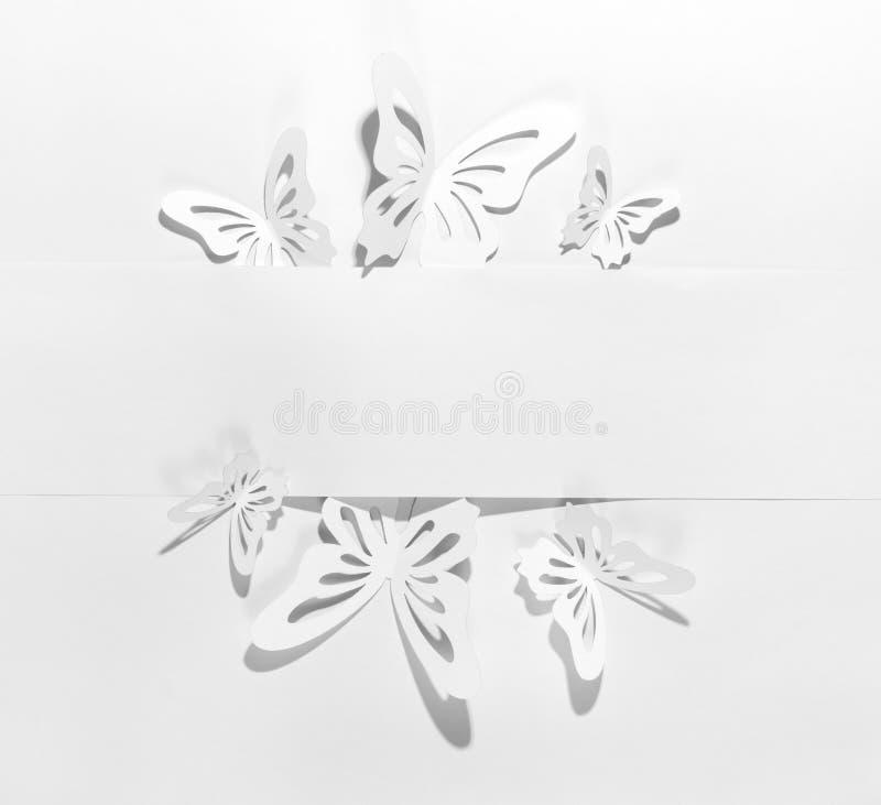 klämmt fast papper för affärsfjärilskort royaltyfria foton