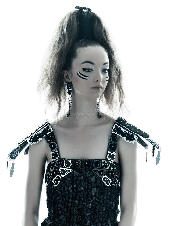 Klänning för sommar för kvinnamodeblack silk arkivfoton