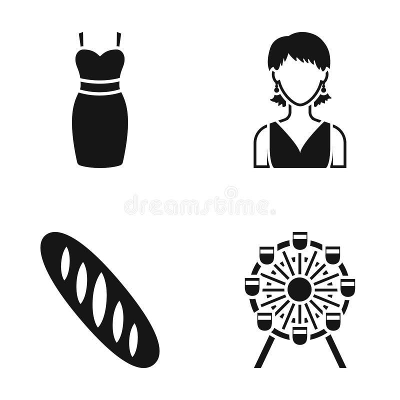 Klänning, flicka och annan rengöringsduksymbol i svart stil släntra pariserhjulsymboler i uppsättningsamling royaltyfri illustrationer