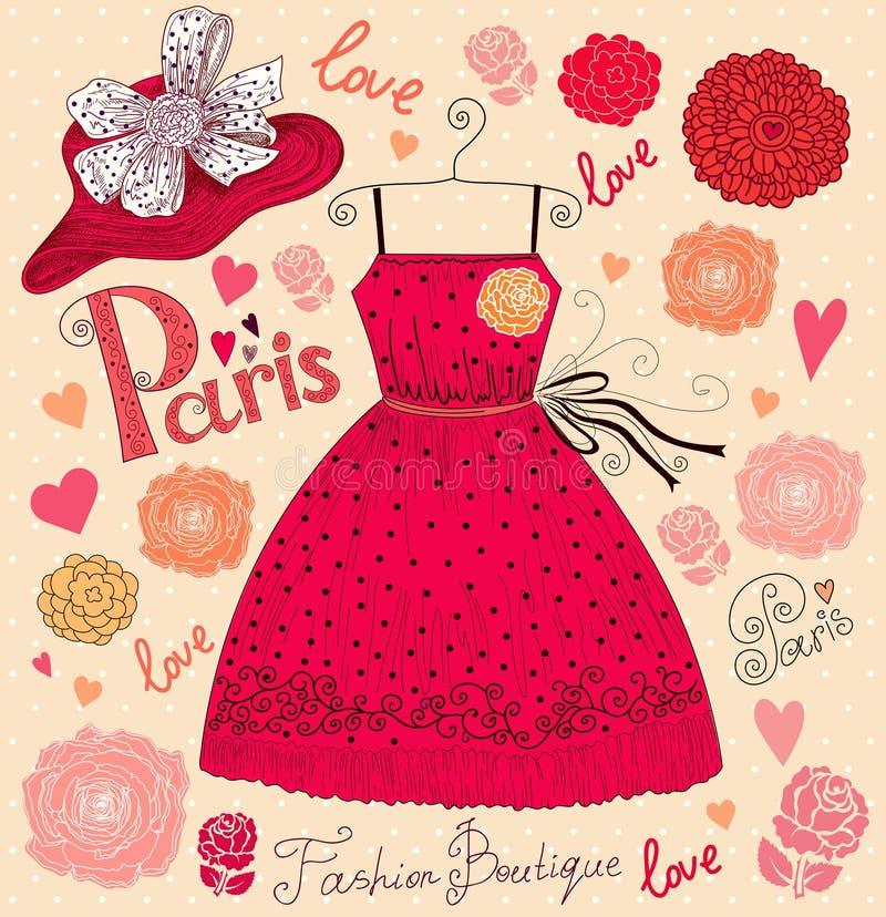 Klänning och hatt stock illustrationer