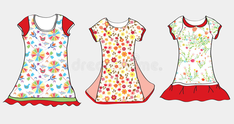 Klänningar och t-skjorta design för flicka stock illustrationer