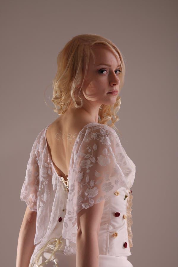 klänningbröllopkvinna arkivfoto
