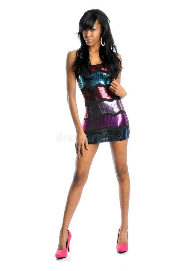 klänningföljdkvinna arkivfoton