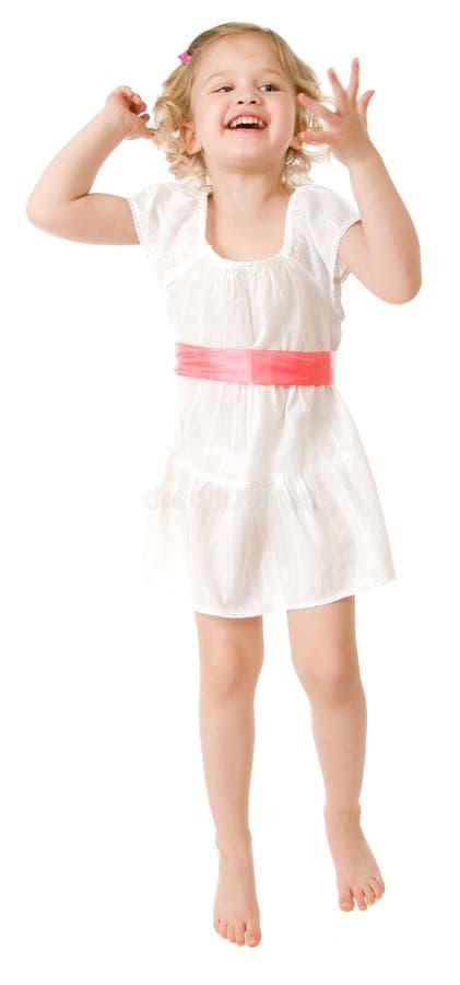klänningflicka little slitage white arkivbilder