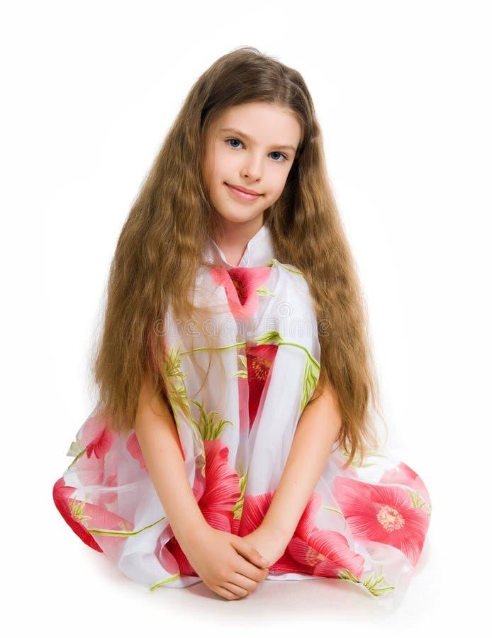klänningflicka little som är röd royaltyfria foton