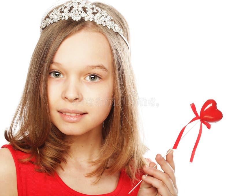klänningflicka little som är röd royaltyfri bild