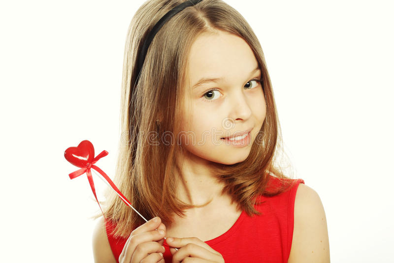 klänningflicka little som är röd royaltyfri fotografi