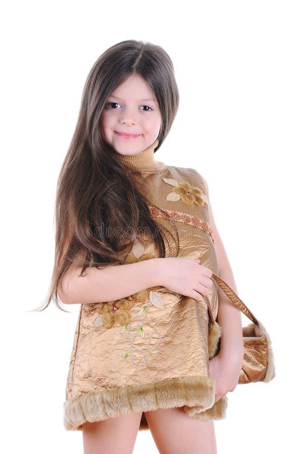 klänningflickaguld little royaltyfria foton