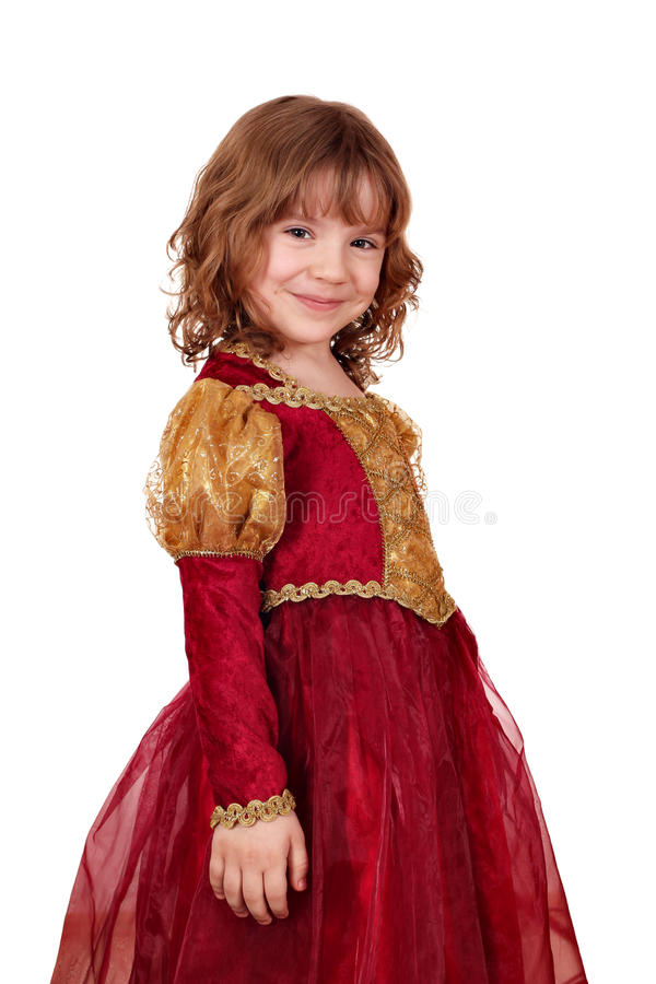 klänningflickaguld little som är röd royaltyfria bilder