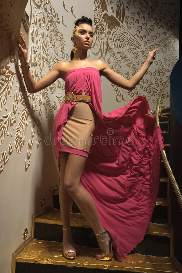 klänningflickapink royaltyfria bilder
