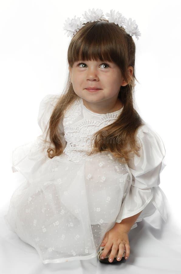 klänningflickawhite royaltyfria foton