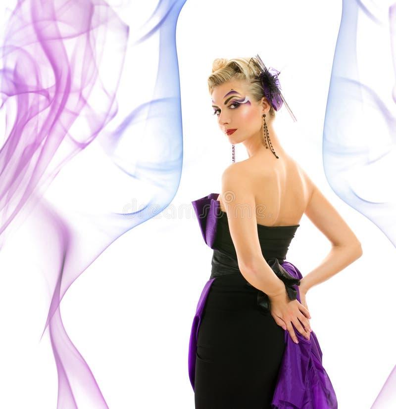 klänninginnegrejkvinna fotografering för bildbyråer