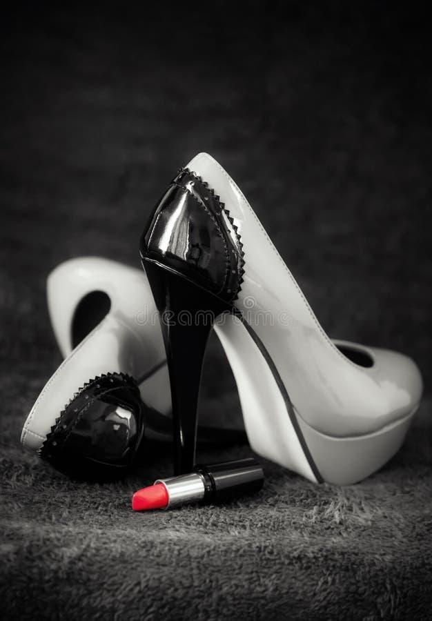 klänningläppstift shoes kvinnor fotografering för bildbyråer