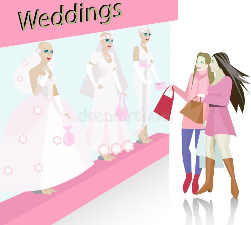 klänningsalongbröllop vektor illustrationer