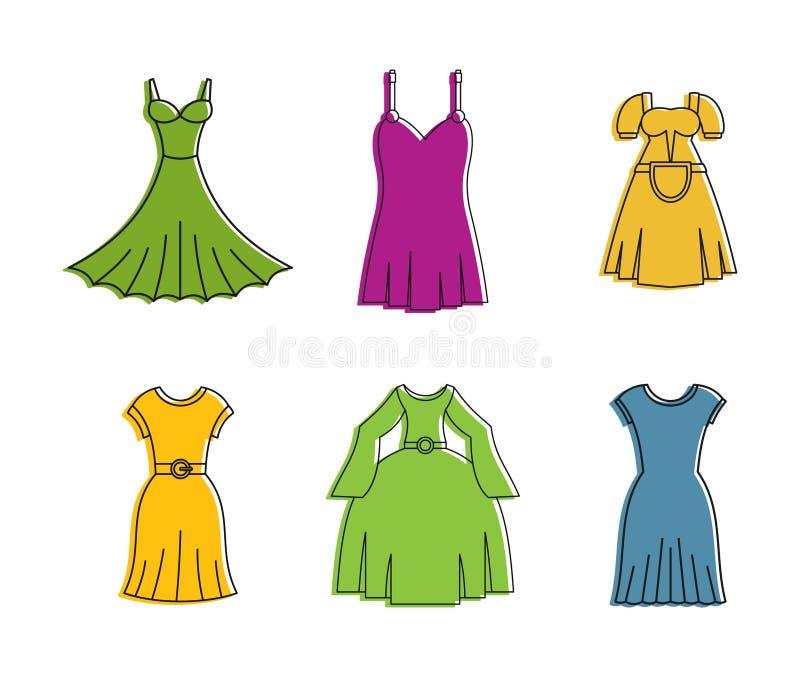 Klänningsymbolsuppsättning, färgöversiktsstil vektor illustrationer