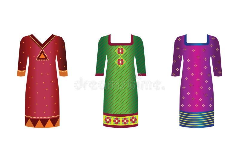 klär indier royaltyfri illustrationer