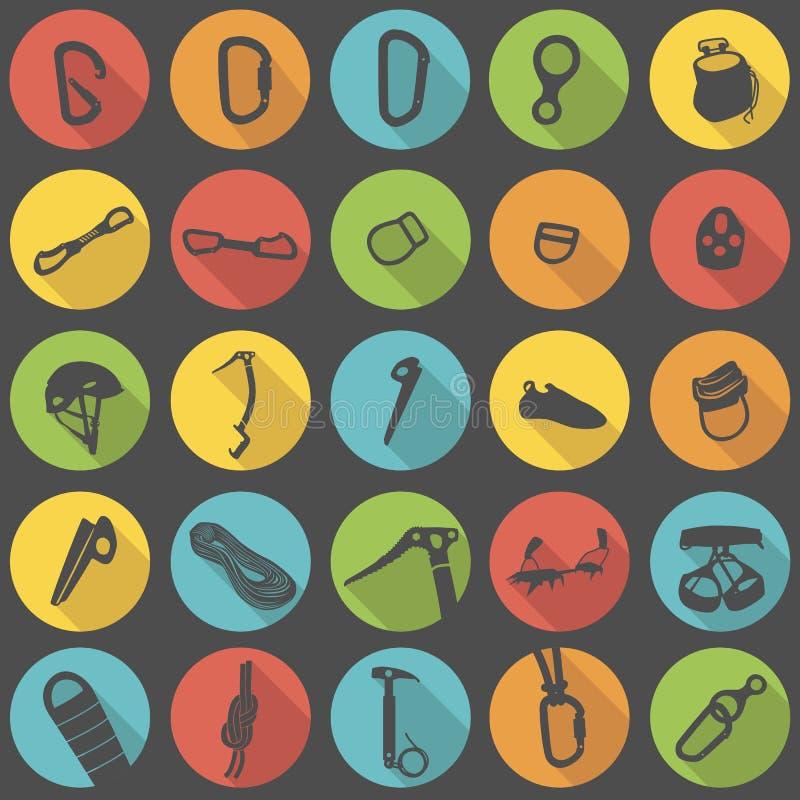 Klättra för symbolsvektor för kugghjul den plana uppsättningen arkivbild