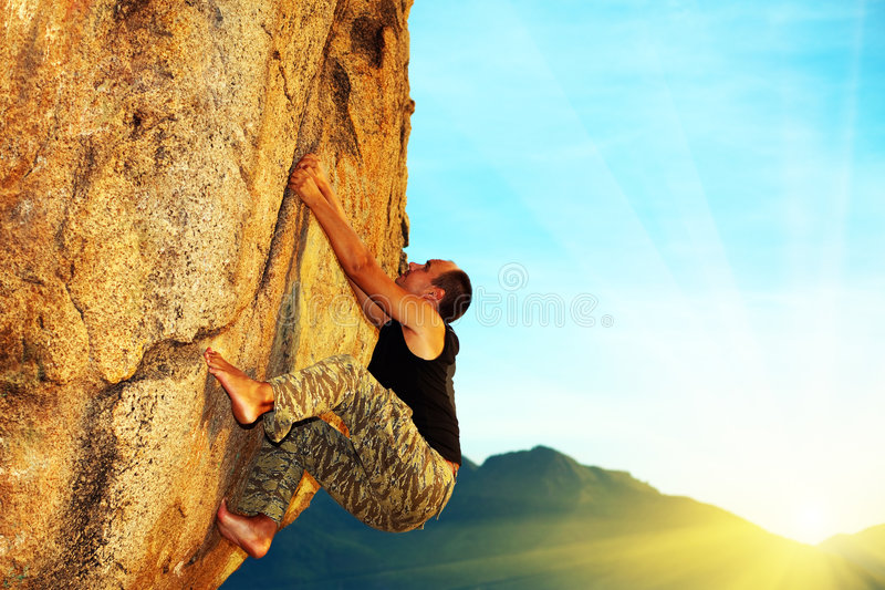 klättra fri solo royaltyfria foton