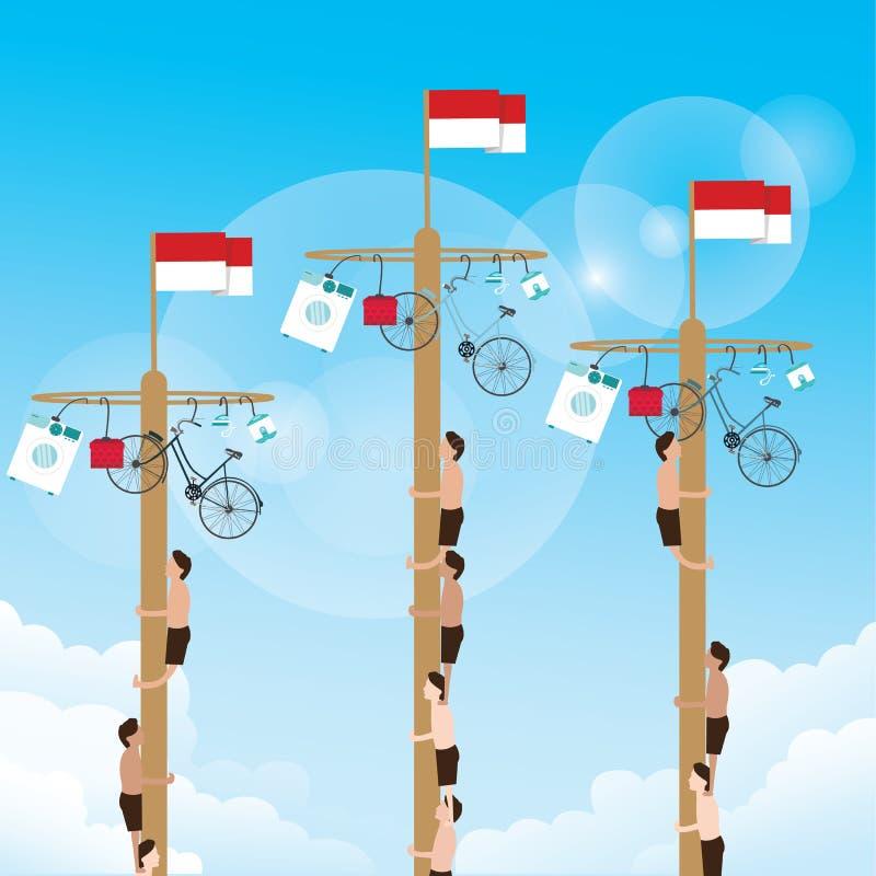Klättra leken med hängande indones för priset fira upptill självständighetsdagen stock illustrationer