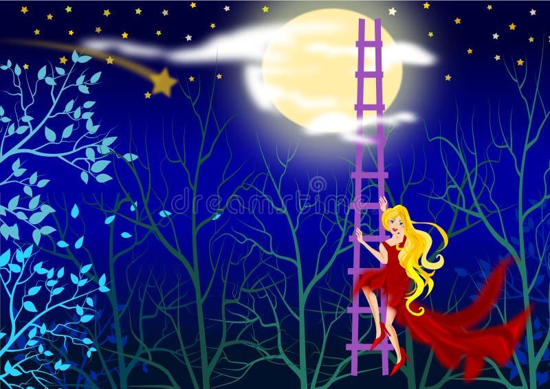 Klättra till månen stock illustrationer