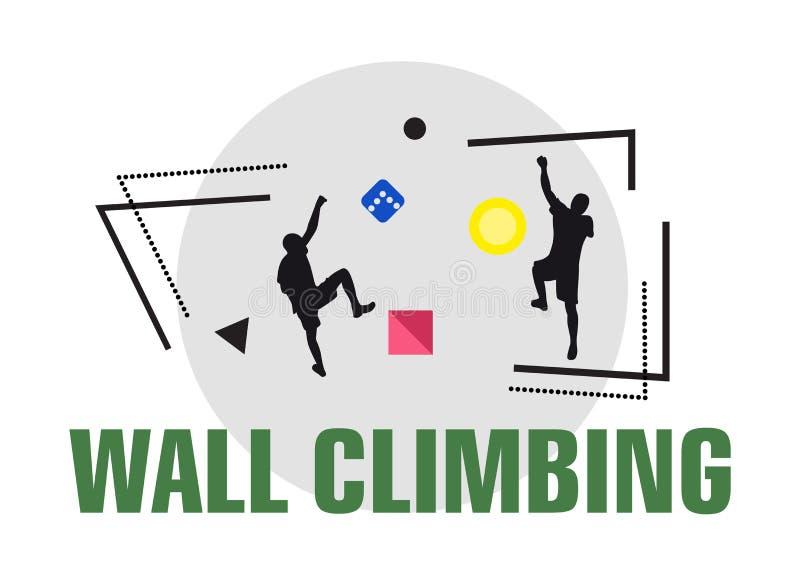 Klättra väggsportlogo Mans att klättra på väggen tillsammans Idérik modern sportlogotyp Fotvandra inomhus stock illustrationer