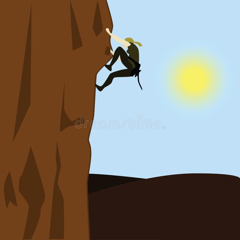 klättrarekvinna royaltyfri illustrationer