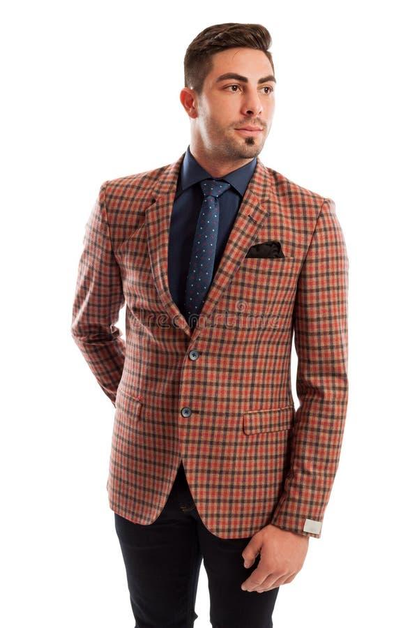 Klår upp den bärande slips- och pläddräkten för elegant manlig modell royaltyfri bild