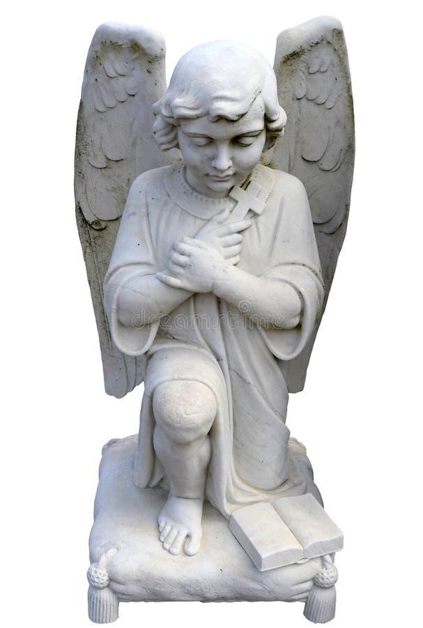 Klęczenie anioła statuy Frontowy widok fotografia royalty free
