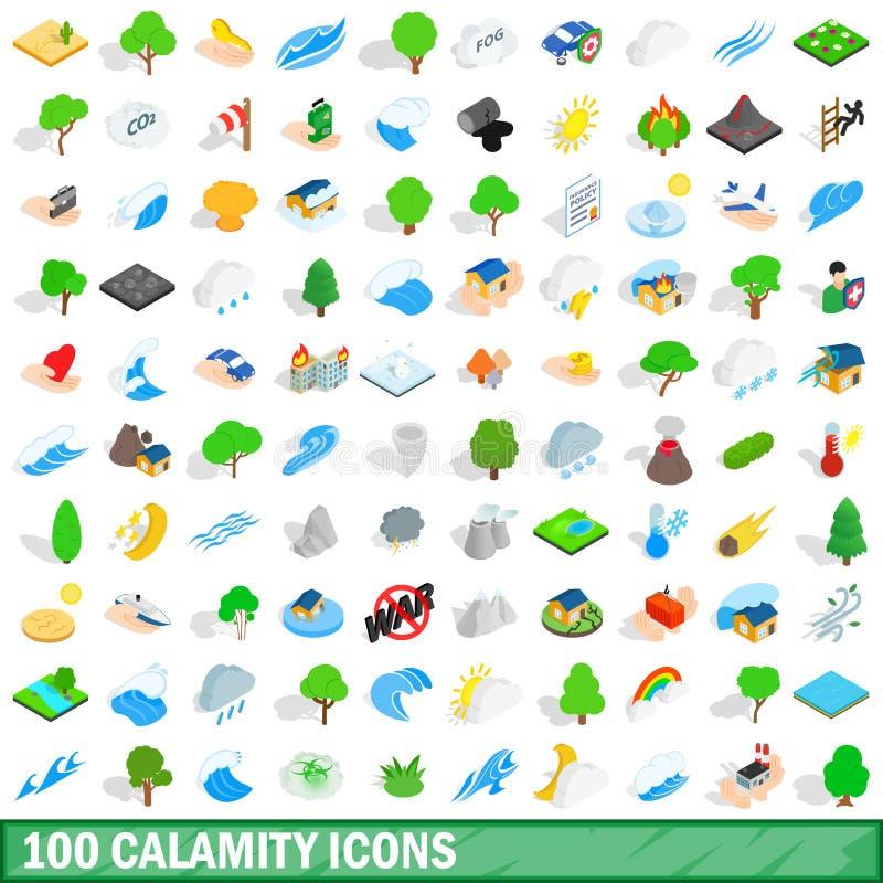 100 klęsk ikon ustawiających, isometric 3d styl ilustracja wektor