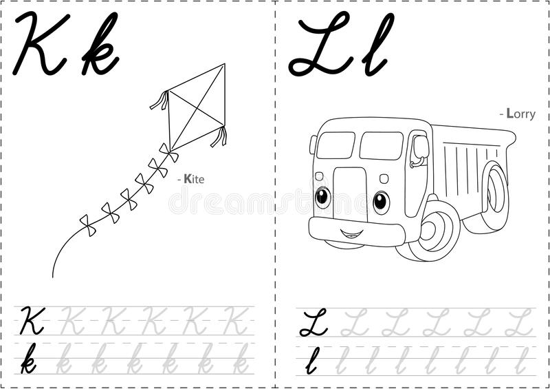 2KL. Cartoon kite and lorry. Alphabet tracing worksheet: writing A-Z, coloring book and educational game for kids stock illustration