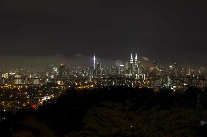 KL city at night from a distance stock photo