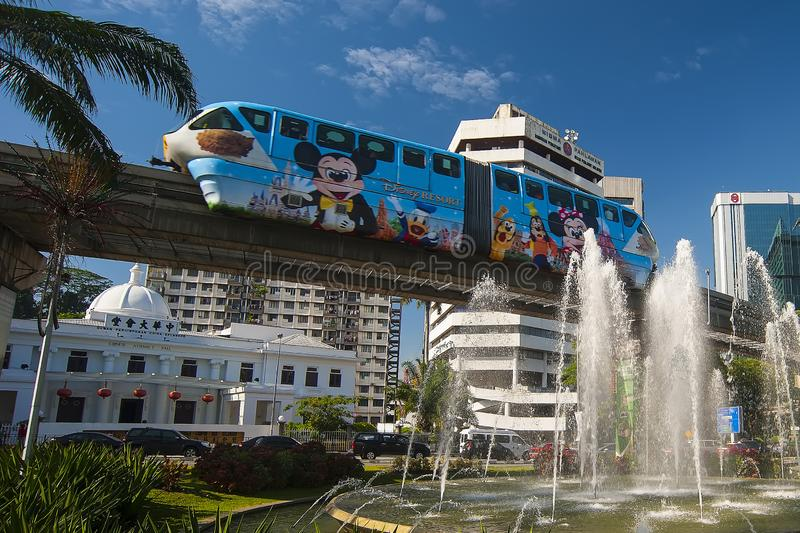KL MONORAIL - KUALA LUMPUR. KL Monorail runs 8.6km with two parallel elevated tracks and serves 11 stations. It connects KL Sentral with major hotels and stock photo
