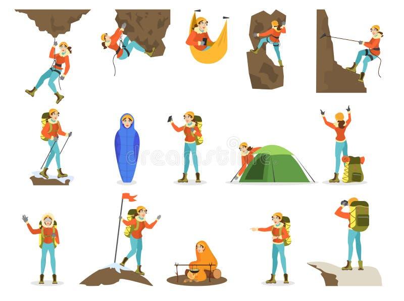 Kl?ttrareupps?ttning Kvinnabergsbestigning med en special utrustning royaltyfri illustrationer