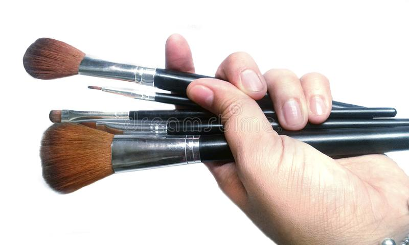 Klaar ¡! de make-up borstelt basis stock fotografie