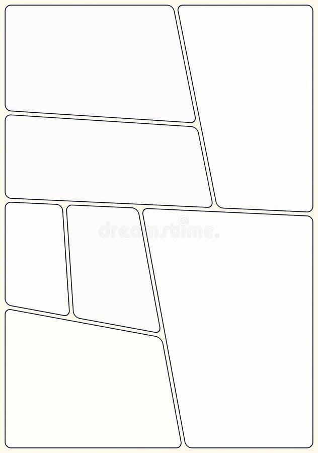Klaar manga storyboard lay-outmalplaatje om aantrekkelijk stripboek tot stand te brengen 7 afgeronde gebieden, klassiek ontwerp,  stock illustratie