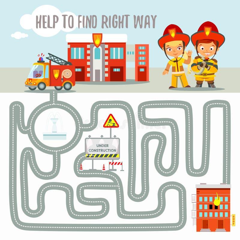 Klaar spelconcept over het vinden van juiste manier voor brandmotor royalty-vrije illustratie