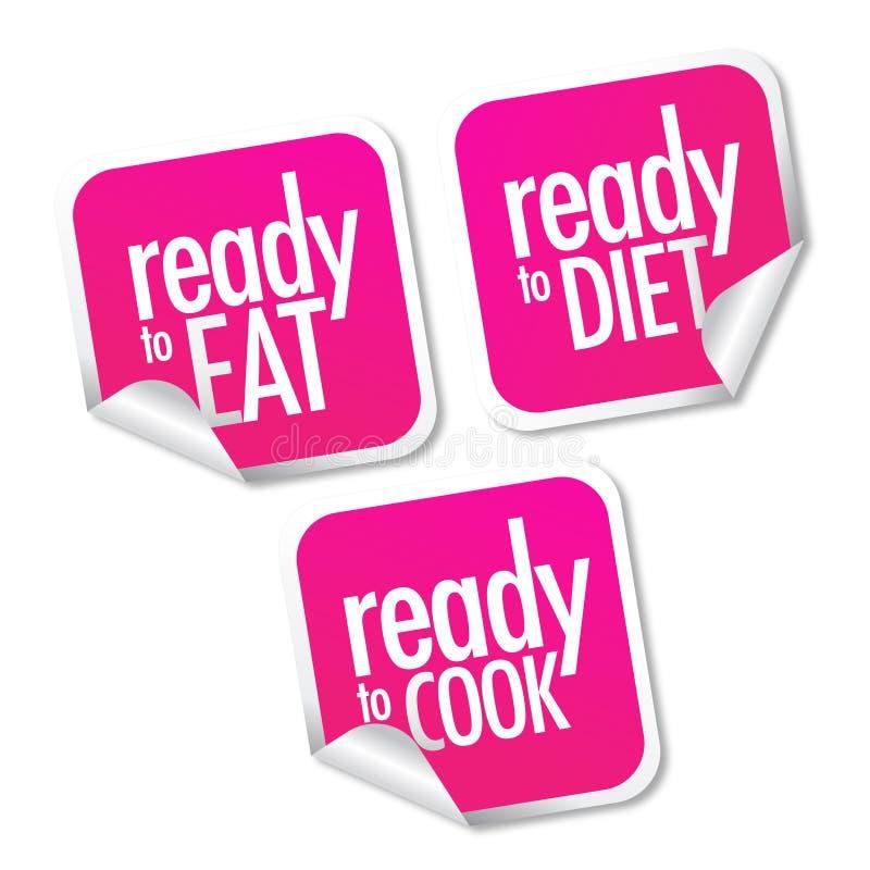 Klaar te eten en, dieet geplaatste stickers te koken royalty-vrije illustratie