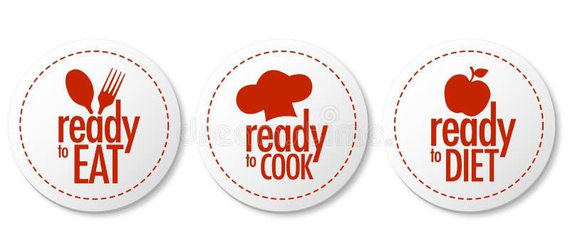 Klaar te eten en, dieet stickers te koken stock illustratie
