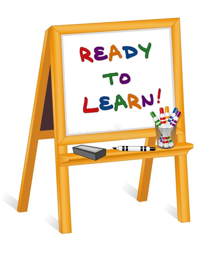 Klaar te leren, Schildersezel Whiteboard vector illustratie