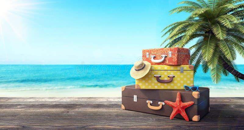 Klaar voor de zomervakantie, reisachtergrond royalty-vrije stock afbeeldingen
