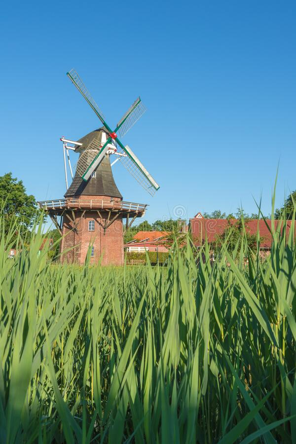 Klaashensche Muehle. Gallery Dutch windmill along the Lower Saxon Mill Road near the East Friesland town of Wittmund, East Frisia, stock photography